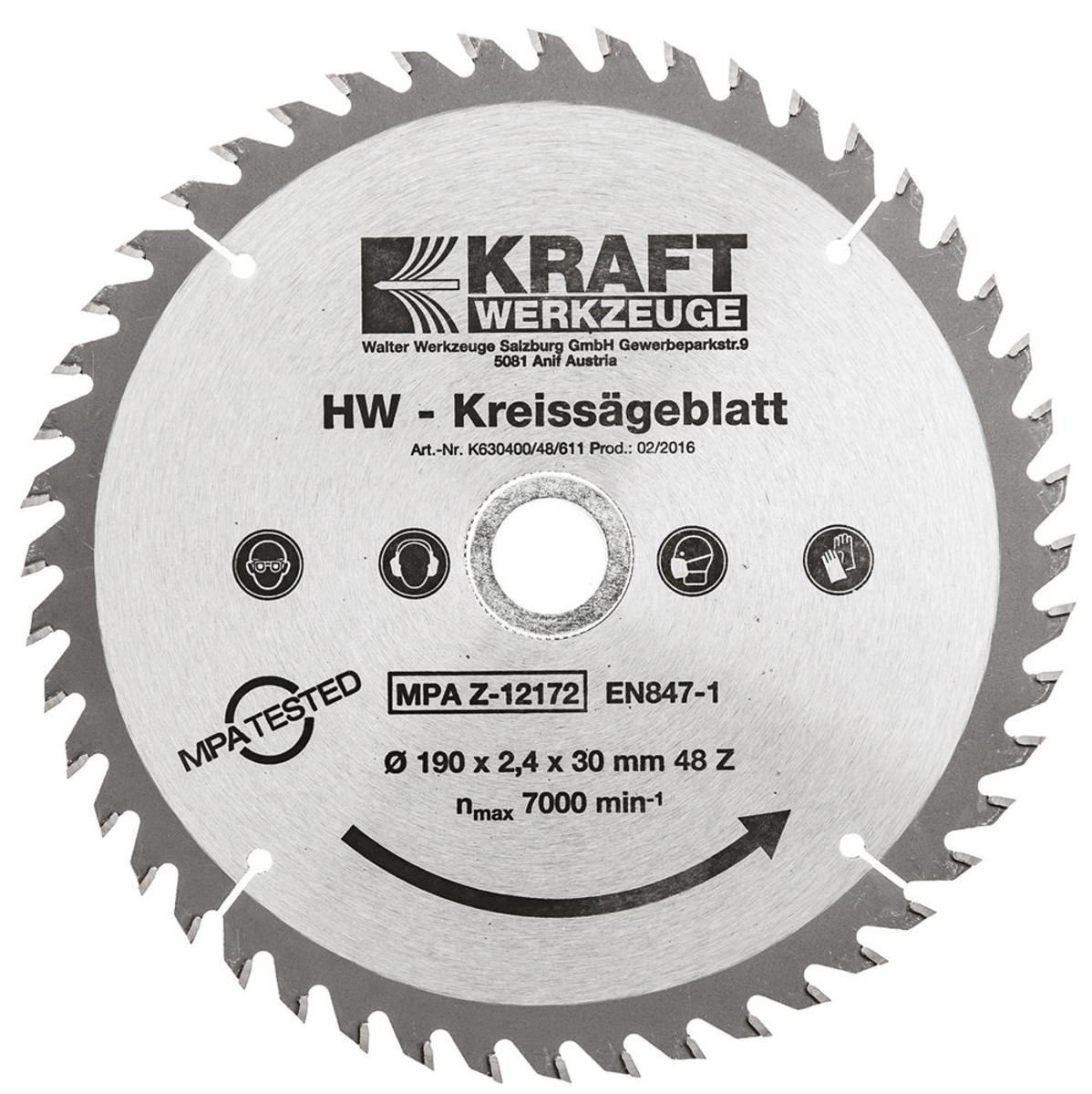 Bild 2 von Kraft Werkzeuge HW-Sägeblatt, Ø190mm, 3er Set