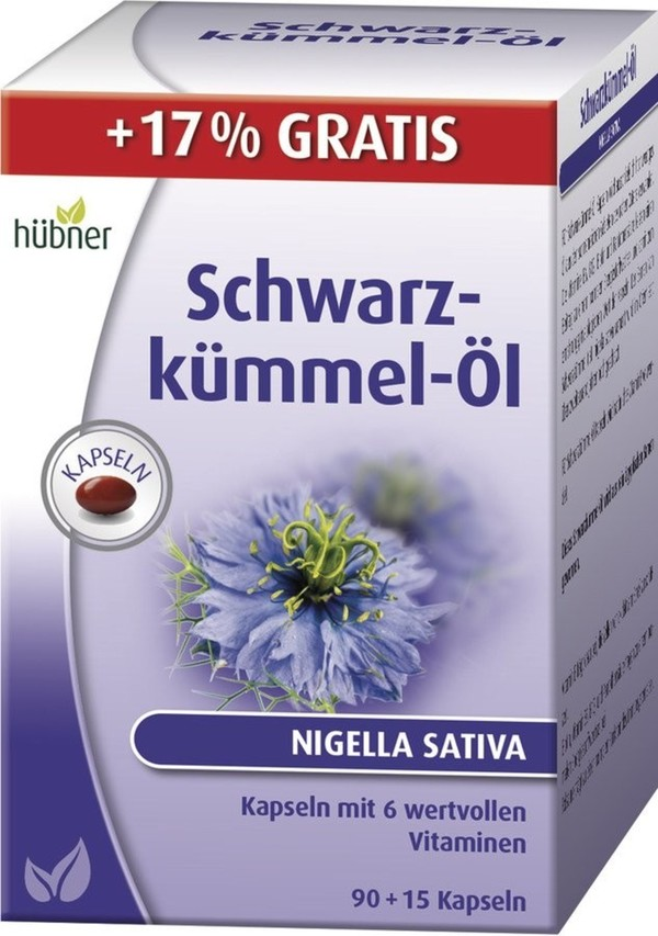 Hübner  Schwarzkümmel-Öl (aktionsgröße) 90 Kapseln + 15 Kapseln gratis