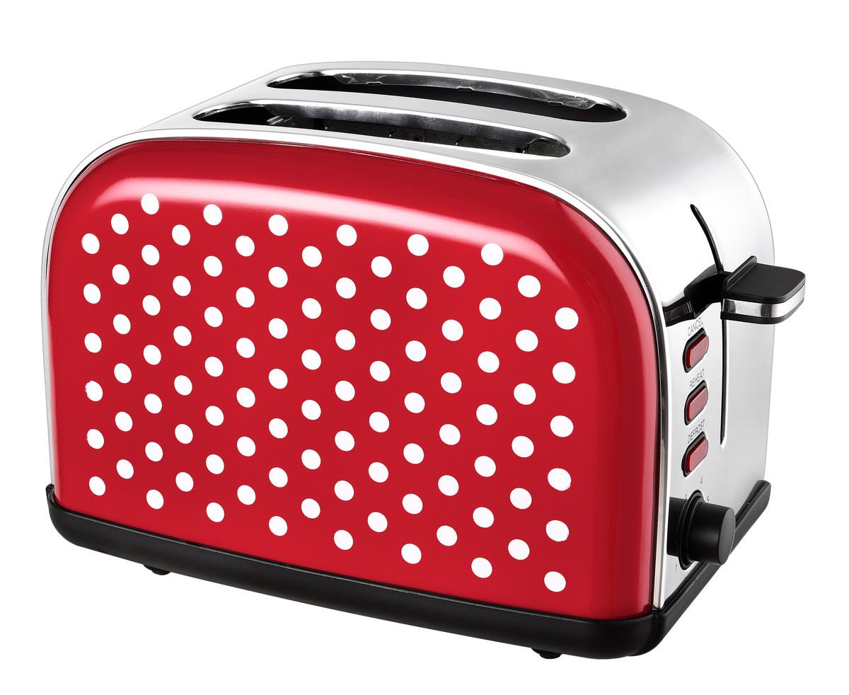 Bild 1 von Kalorik Retro-Edelstahltoaster 2-Scheiben rot mit weißen Punkten TKG TO 1045