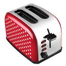 Bild 2 von Kalorik Retro-Edelstahltoaster 2-Scheiben rot mit weißen Punkten TKG TO 1045