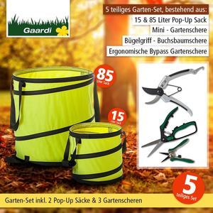 """Garten - Aktionsset """"Herbst"""", 5 tlg. 3 Gartenscheren + 2 Pop-Up Säcke gelb"""