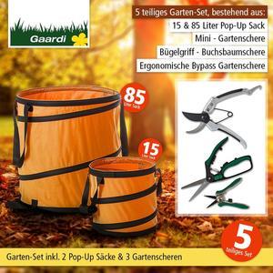 """Garten - Aktionsset """"Herbst"""" 5 tlg. - 3 Gartenscheren + 2 Pop-Up Säcke orange"""