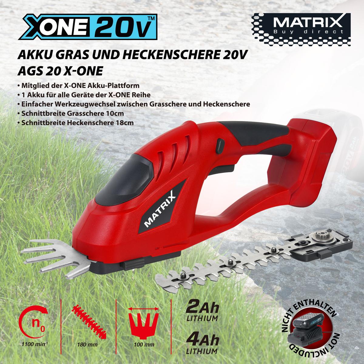 Bild 1 von Matrix X-One Akku Gras- und Heckenschere 20V