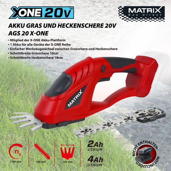 Matrix X-One Akku Gras- und Heckenschere 20V