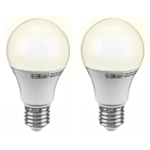 I-Glow LED-Birne, dimmbar, E27, 9W - 2er Set