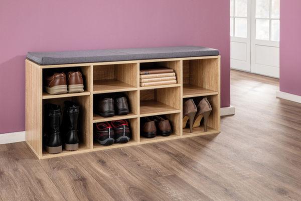 Kesper Universal-/ Schuhschrank mit Sitzkissen Sonoma Eiche