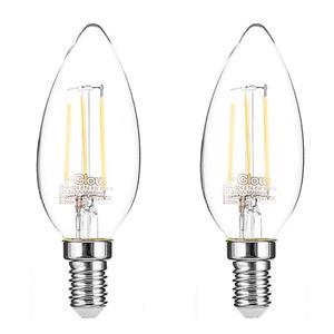 I-Glow LED-Leuchtmittel Filament 360° - Kerze, 4 Watt, E14, klar 2er Set