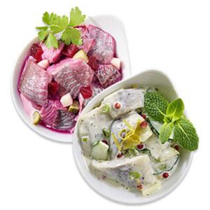 Heringssalat   rot oder weiß, nach traditionellen Rezepten hergestellt, je 100 g