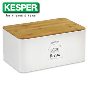 Brotbox mit Bambusdeckel - Maße: ca. H 15,0 x B 32,5 x T 21 cm