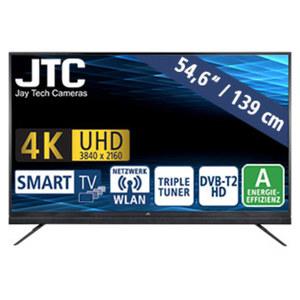 "55""-Ultra-HD-LED-TV Atlantis Sound 5.5 • 3 HDMI-/2 USB-Anschlüsse, CI+ • Stand-by: 0,5 Watt, Betrieb: 109 Watt • Maße: H 75,9 x B 124,4 x T 9,7 cm • Energie-Effizienz A (Spektrum A++ bis"