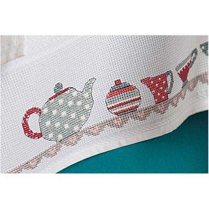 Rico Design Stickpackung Geschirrtuch Teekanne 50x75cm