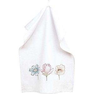 Rico Design Stickpackung Geschirrtuch Drei Blüten