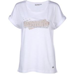 Damen Shirt mit Schriftzug und Perlen