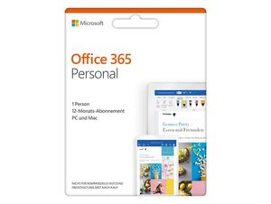 Microsoft Office 365 Personal, 1-Jahres-Software-Lizenz, Key Card