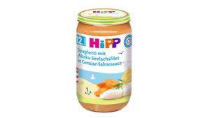 HiPP Menüs ab 12.Monat - Spaghetti mit Alaska-Seelachsfilet in Gemüse-Sahnesauce