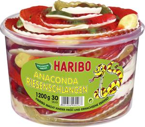 Haribo Anaconda Riesenschlangen, Gummibärchen, Weingummi, Fruchtgummi, 30 Stück, 1200g Dose