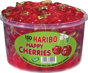 Haribo Happy Cherries, Gummibärchen, Weingummi, Fruchtgummi, 150 Stück, 1200g Dose