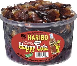 Haribo Happy Cola, Gummibärchen, Weingummi, Fruchtgummi, 150 Stück, 1200g Dose