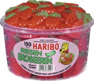 Haribo Riesen Erdbeeren, Gummibärchen, Weingummi, Fruchtgummi, 150 Stück, 1350g Dose