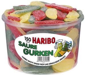 Haribo Saure Gurken, Gummibärchen, Weingummi, Fruchtgummi, 150 Stück, 1350g Dose