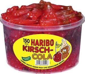 Haribo Kirsch Cola, Gummibärchen, Weingummi, Fruchtgummi, 150 Stück, 1350g Dose