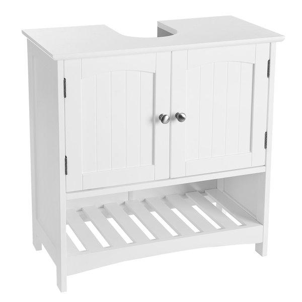 SONGMICS Unterschränke Waschbeckenunterschrank, Badezimmerschrank mit  Offenem Fach, Badschrank im Landhausstil, aus Holz, Weiß, 60 x 60 x 30cm (B  x H ...