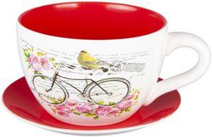 Pflanzgefäß - Tasse mit Fahrrad - aus Keramik - verschiedene Größen