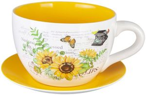 Pflanzgefäß - Tasse mit Sonnenblumen - aus Keramik - verschiedene Größen