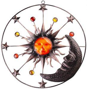 Wanddeko - Sonne, Mond und Sterne - aus Metall - Ø = 51 cm