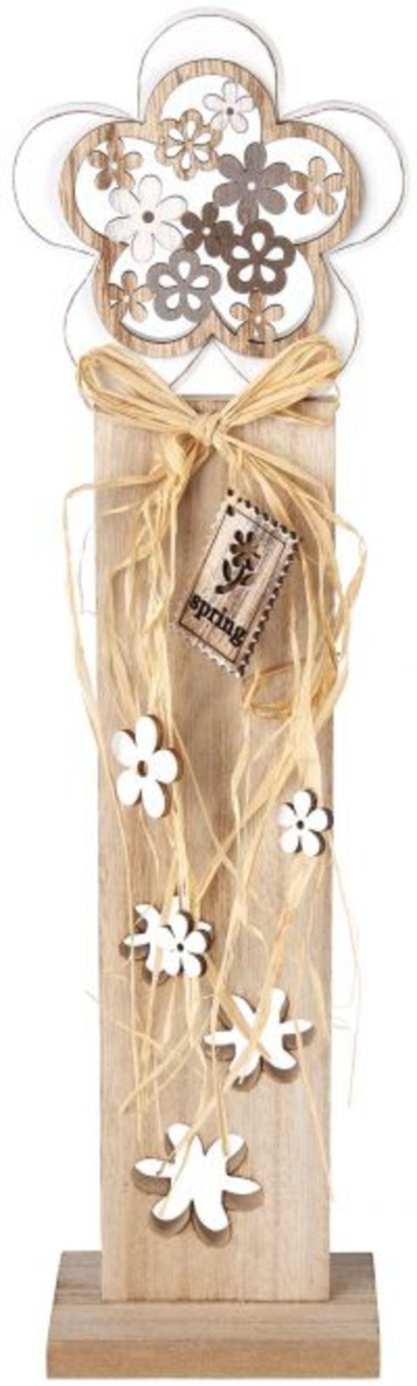 Standdeko - Blume - aus Holz - 10 x 6 x 40,5 cm