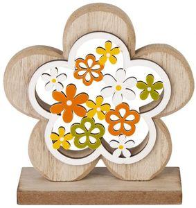 Dekoblume - aus Holz - 11,5 x 4 x 12 cm