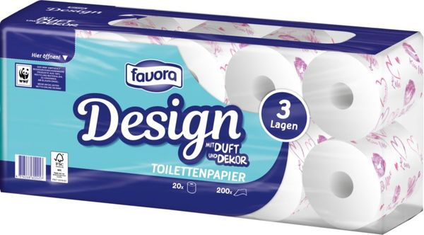Favora Toilettenpapier Herzen 3-lg. 20 x 200 Blatt