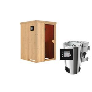 """Karibu              Sauna """"Lenja"""", Fronteinstieg, 3,6 kW Bio Ofen externe Strg. modern, kein Kranz, Energiespartür"""