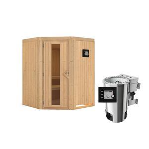 """Karibu              Sauna """"Nanja"""", Eckeinstieg, 3,6 kW Bio Ofen externe Strg. modern, kein Kranz, Energiespartür"""