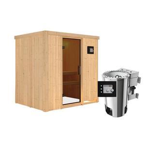 """Karibu              Sauna """"Fanja"""", Fronteinstieg, 3,6 kW Bio Ofen externe Strg. modern, kein Kranz, Energiespartür"""
