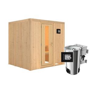 """Karibu              Sauna """"Daria"""", Fronteinstieg, 3,6 kW Bio Ofen externe Strg. modern, kein Kranz, Energiespartür"""