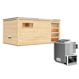 """Karibu              Saunahaus """"Hygge"""", 38 mm, 9 kW Bio Ofen externe Strg., Klarglas-Tür"""