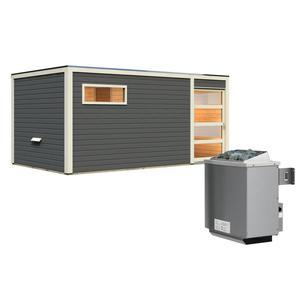 """Karibu              Saunahaus """"Hygge"""", 38 mm, 9 kW Ofen integr. Strg., Klarglas-Tür, terragrau"""