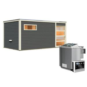 """Karibu              Saunahaus """"Hygge"""", 38 mm, 9 kW Bio Ofen externe Strg., Klarglas-Tür, terragrau"""