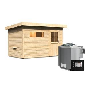 """Karibu              Saunahaus """"Suva 1"""", 38 mm, 9 kW Bio Ofen externe Strg. modern"""