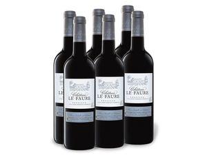 6 x 0,75-l-Flasche Château le Faure Bordeaux AOP trocken, Rotwein