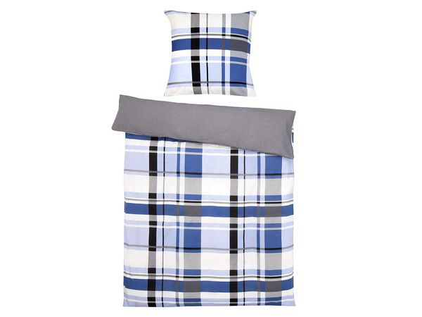 Setex Comfort Feinbiber Bettwäsche Plaid Pattern blau