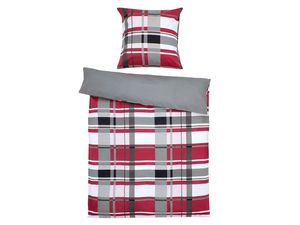 Setex Comfort Feinbiber Bettwäsche Plaid Pattern rot