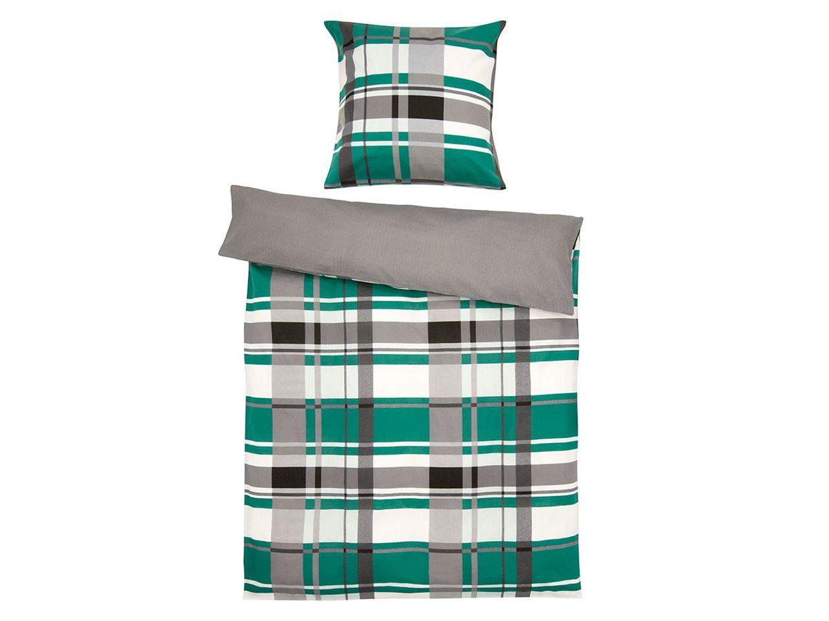 Bild 1 von Setex Comfort Feinbiber Bettwäsche Plaid Pattern grün