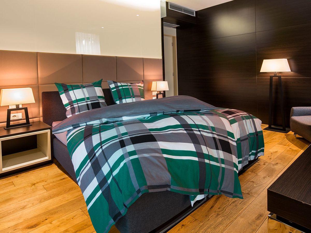 Bild 2 von Setex Comfort Feinbiber Bettwäsche Plaid Pattern grün