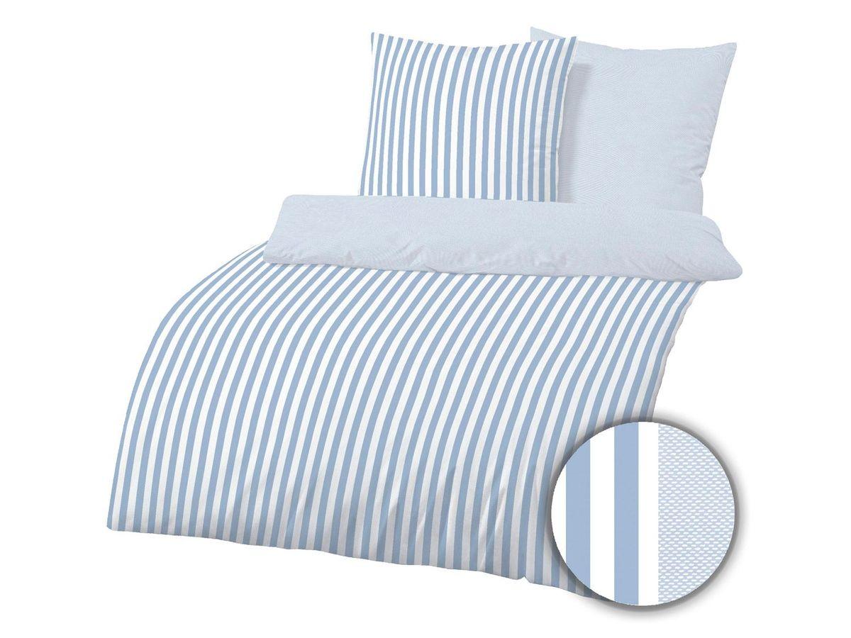 Bild 1 von Dobnig Mako-Satin Bettwäsche Streifen taubenblau
