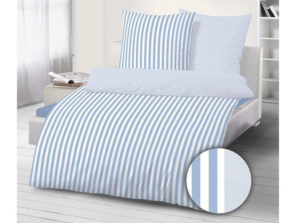 Bild 2 von Dobnig Mako-Satin Bettwäsche Streifen taubenblau