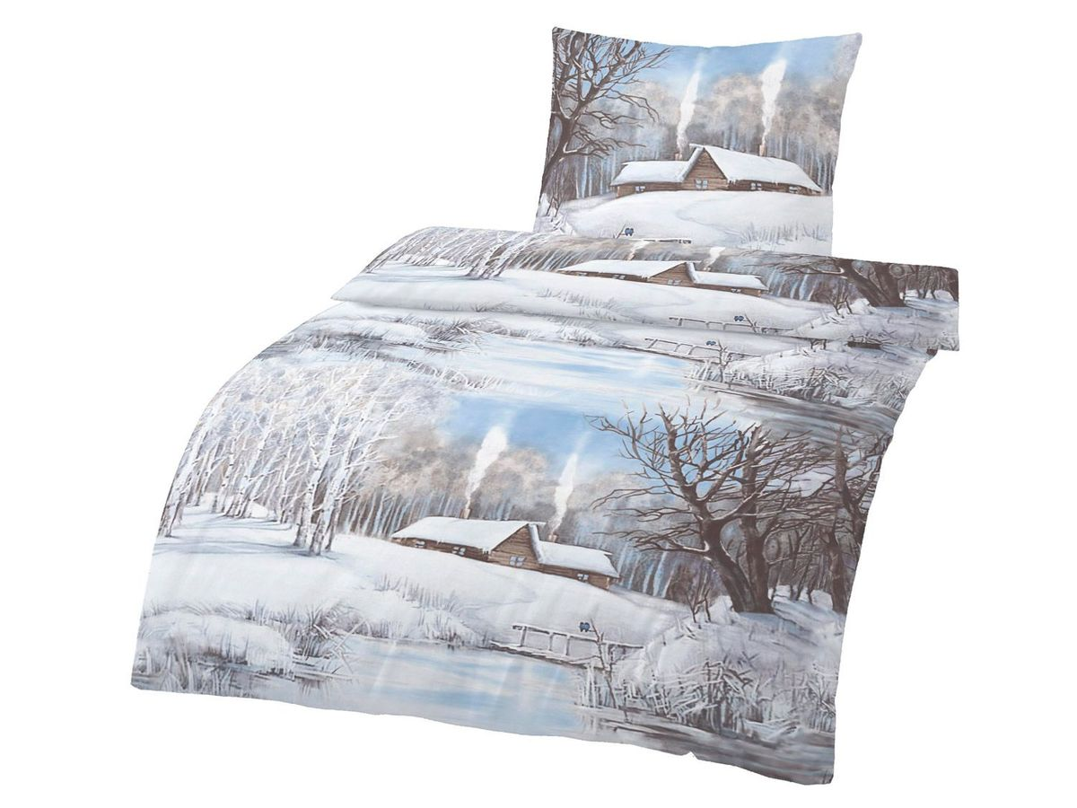Bild 1 von Dobnig Biberbettwäsche Winterlandschaft blau