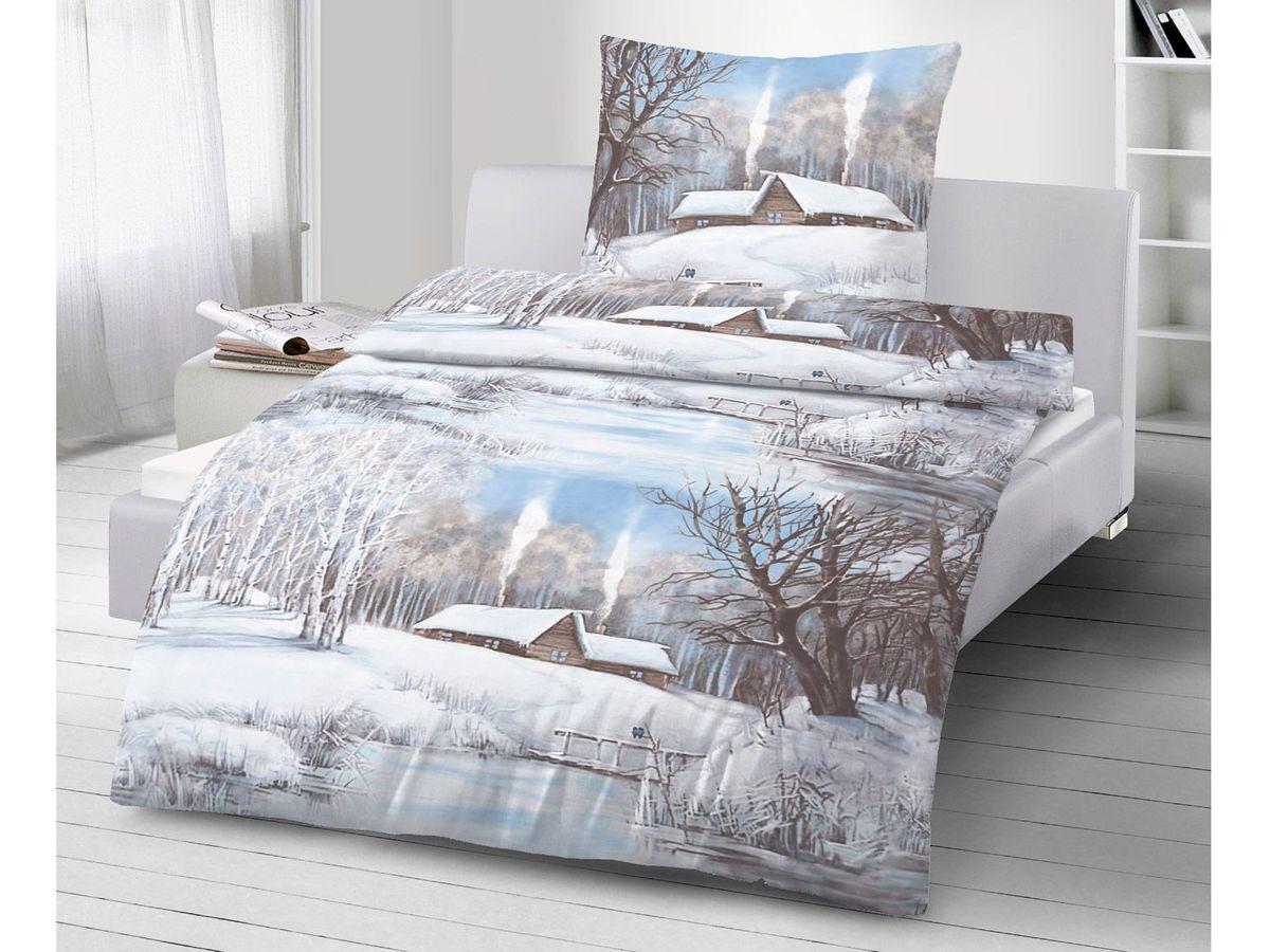 Bild 2 von Dobnig Biberbettwäsche Winterlandschaft blau