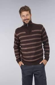Pullover mit Blockstreifen, Farbe braun